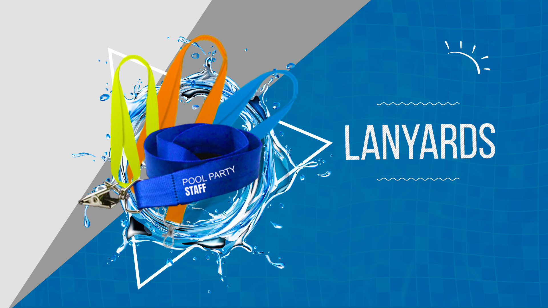 Pool_Party Lanyards - 24HourWristbands.com