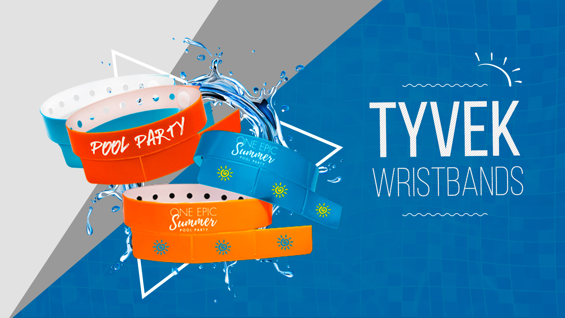Pool_Party Tyvek Wristbands  -  24HourWristbands.com