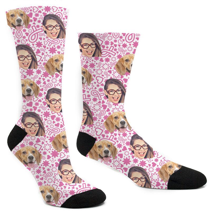 Custom Breast Cancer Ribbon Socks