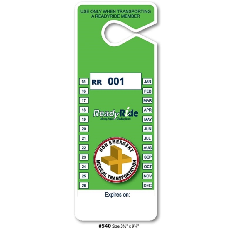 Custom Full Color Hanging Parking Permits, 3 1/2