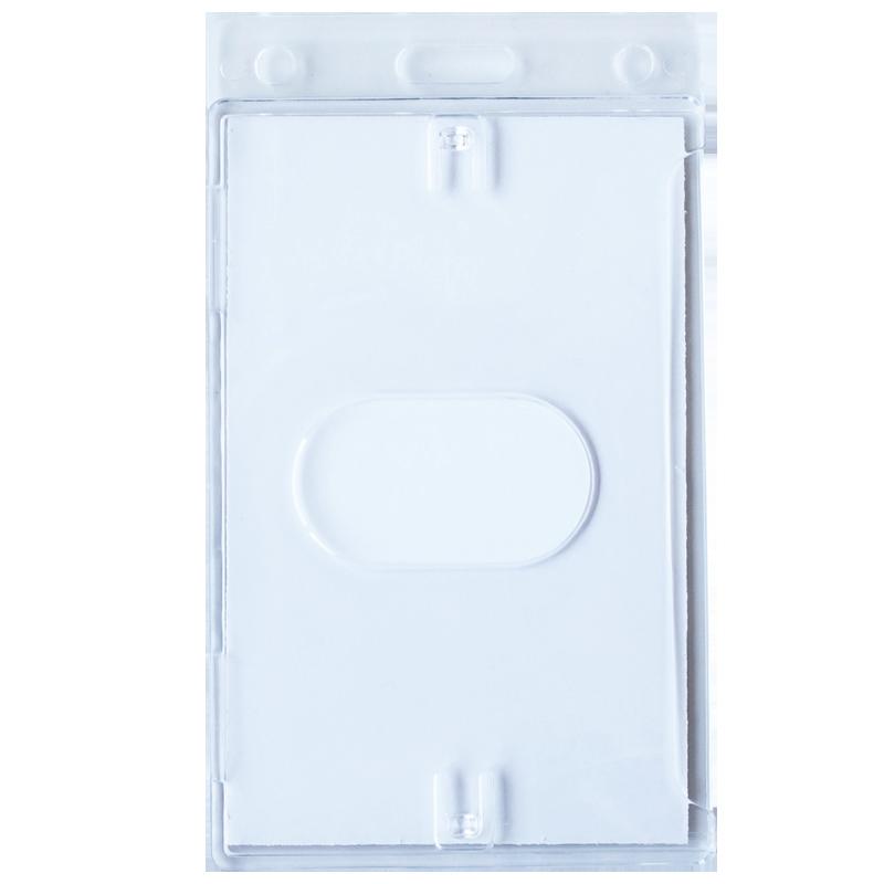 Vertical Hard Plastic Badge Holder with Slot - Back Side