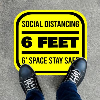 6ft Space Square Social Distancing Stickers