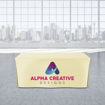 8FT Open Corner Trade Show Table Cover - Full Color Imprint