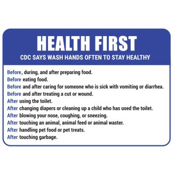 CDC Hand Wash Information Stickers