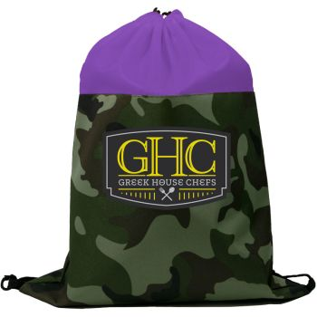 Colored Camo Drawstring Tote Bags