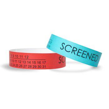 Medical Screened Calendar Tyvek Wristbands