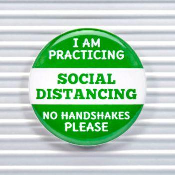 No Handshakes Social Distancing Pin Buttons