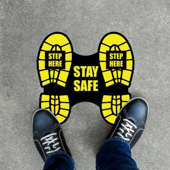 Step Here Social Distancing Stickers