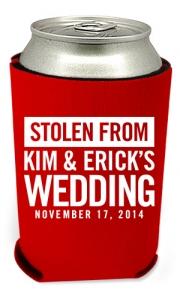 Stolen Wedding Can Coolers
