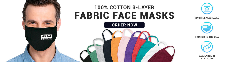 Custom 100% Cotton 3-Layer Fabric Face Masks