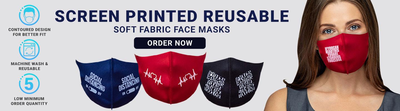 Custom Screen Printed Soft Fabric Reusable Face Masks